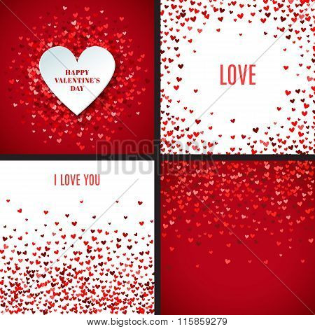 Set of romantic red heart backgrounds. Vector illustration