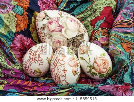 Easter Eggs And Colorful Scarf, Holiday Symbol