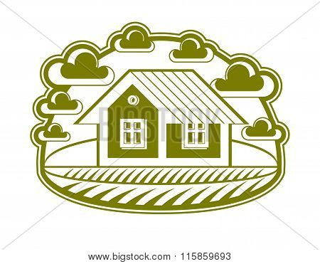 House Vector Detailed Illustration, Village Idea. Graphic Country House Image, Countryside Building