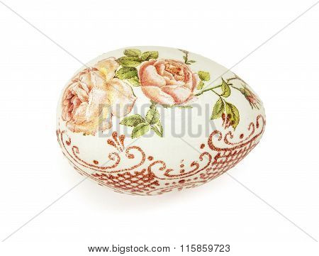 Beautiful Painted Easter Egg With Flowers Pattern, Isolated Object