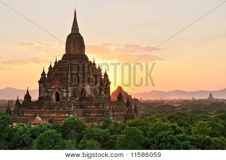 Silhouette Of Sulamani Temple At Sunset, Bagan, Myanmar..