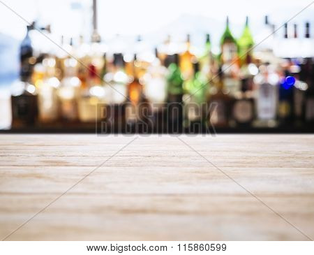 Table top counter Blurred Bar Restaurant background