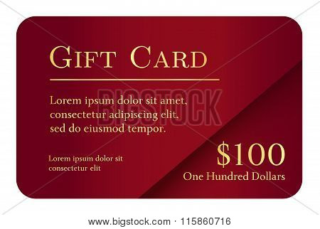 Luxury Simple Gift Card In Red Color With Golden Text