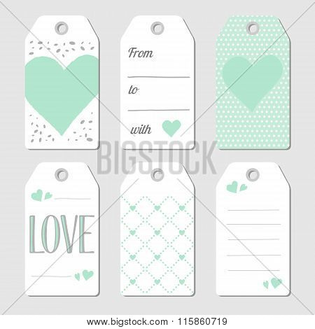 Gift  Tags With Hearts And Love
