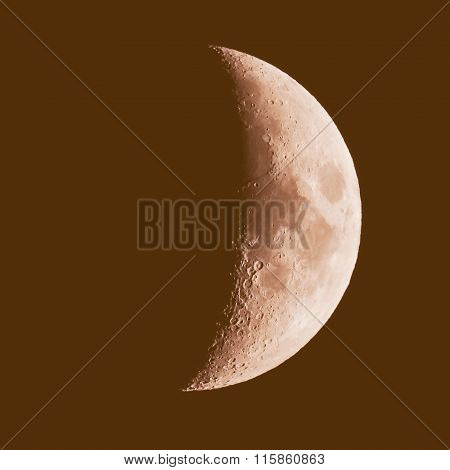 Retro Looking First Quarter Moon