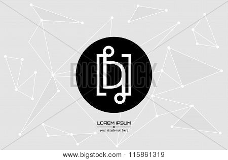 Abstract concept creative vector letter D. Colorful app logo icon element isolated on background. Ar