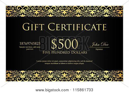 Vintage Black Gift Certificate With Golden Ornament Pattern