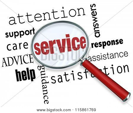 Service word under magnifying glass with terms like answers, response, assistance, satisfaction, guidance, help, advice, care, support and attention