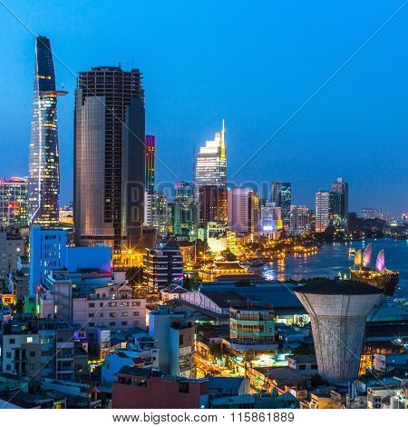 HO CHI MINH CITY, VIETNAM - JAN 15, 2016: Top view of Ho Chi Minh City (Saigon) at night time. Is located in the South of Vietnam, is the country's largest city, population 8 million.