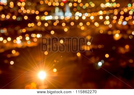 Abstract Circular Bokeh Background, City Lights In The Twilight With Streetlight, Closeup