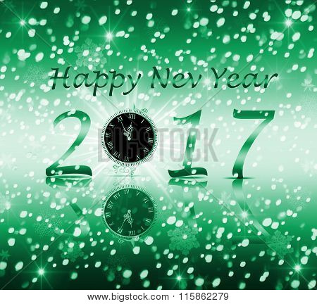 Congratulation happy new year 2017 on a green background with snow