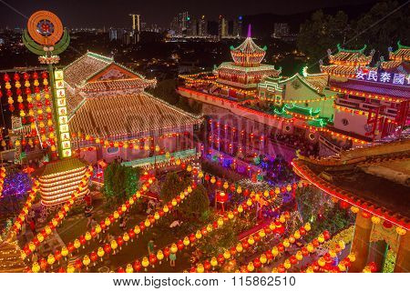 Penang, Malaysia - February 27, 2015: Beautifully lit-up Kek Lok Si temple in Penang during the Chinese New Year.