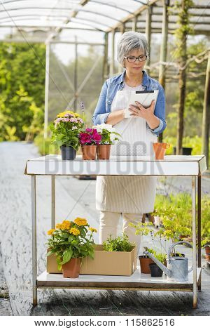 Beautiful mature woman working in a greenhouse holding flowers and taking notes in a tablet