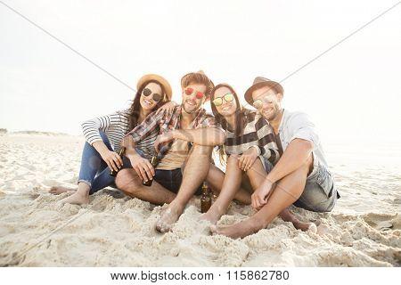 Friends at the beach enjoying the summer