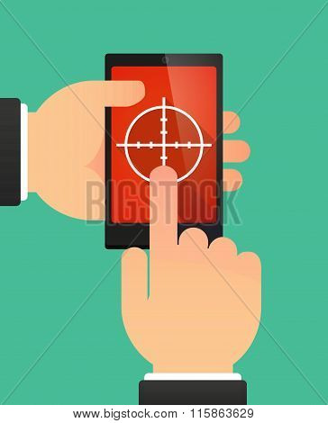 Man Using A Phone Showing A Crosshair