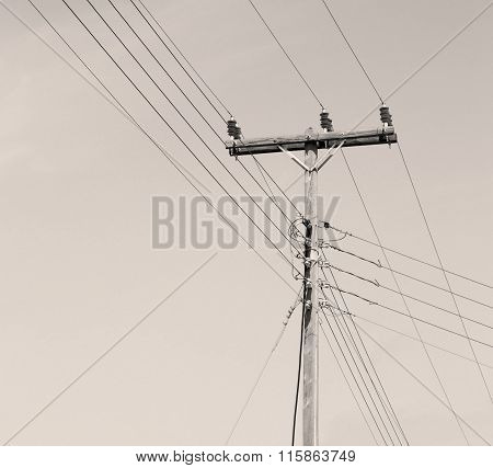Current Pole Electricity Line In The Cloudy  Sky And Abstract Background