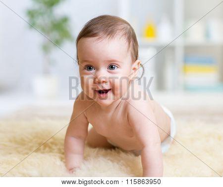 crawling funny baby at home