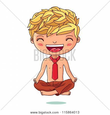 Kid In The Red Tie Sitting In The Lotus Position