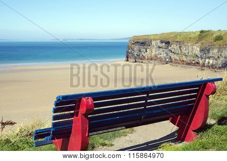 Cliff Walk Bench Overlooking The Beach