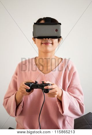 Young Woman wearing virtual reality devices