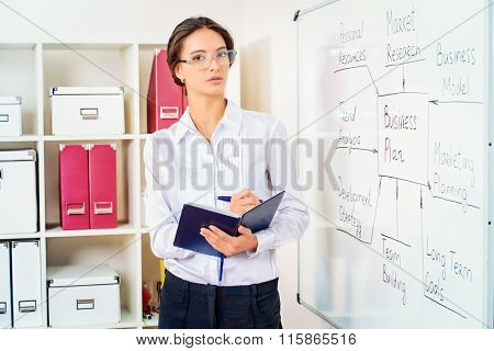 Business coach trains company staff. Elegant businesswoman presents a business plan for the meeting of the company. Education. HR management.