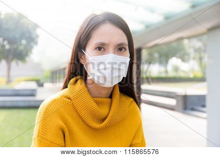 Woman wearing mask for protection