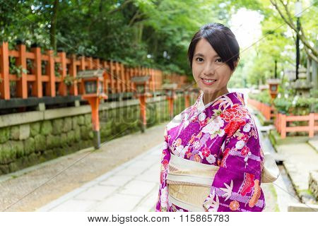 Woman wearing the kimono dress