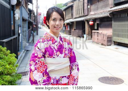 Asian Woman with japanese kimono at kyoto