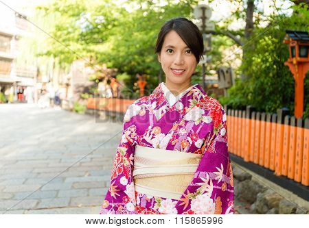 Asian Woman with kimono dress in gion