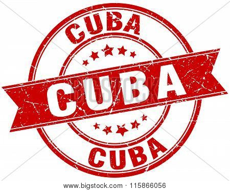Cuba red round grunge vintage ribbon stamp