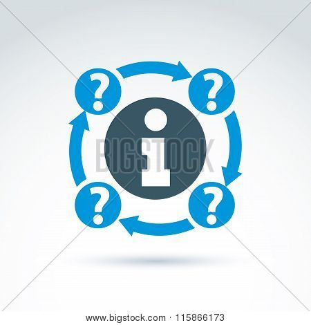 Round Consultation Symbol, Conceptual Call Center Icon, Information Sign. Question Marks Connected W