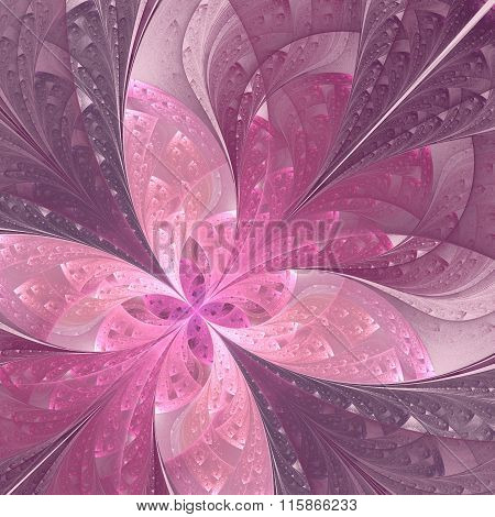Beautiful Diagonal Fractal Flower Or  Butterfly In Stained-glass Window Style. Pink And Purple. Artw