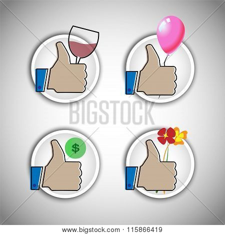 Thumps up with balloon, wine glass, dollar and flowers icon collection