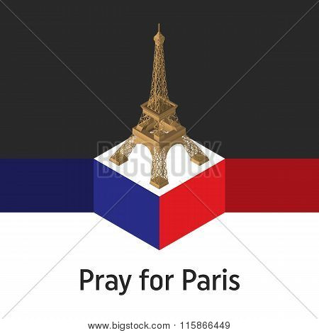 Pray for Paris, 13 November 2015. Abstract creative concept vector image. For art illustration templ