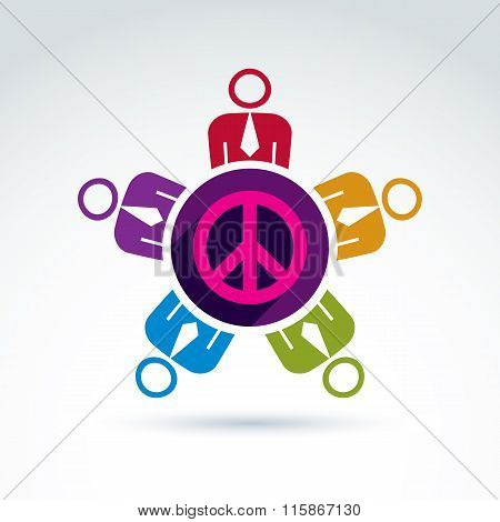 Illustration Of A Group Of People Standing Around A Peace Sign, Hippy Community. Harmony And Freedom
