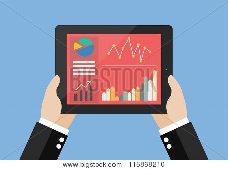 Hands Hold Tablet With Flat Simplistic Inforgraphic Charts On A Screen
