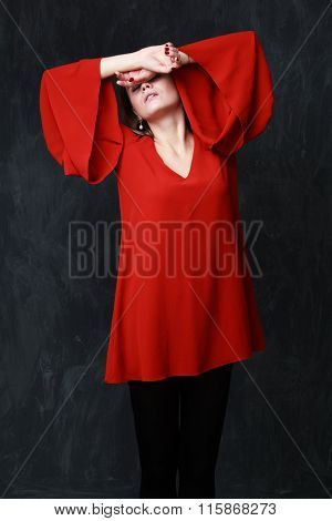 Young Woman Closed Her Face By The Hands , Melancholic Gesture