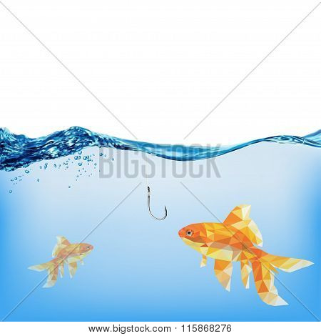 Gold Fish. Abstract Polygon Vector Illustration