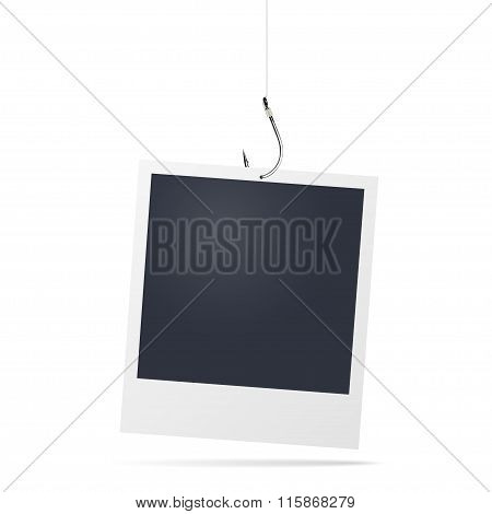 Photo Frame Hanging On Fishing Hook. Vector