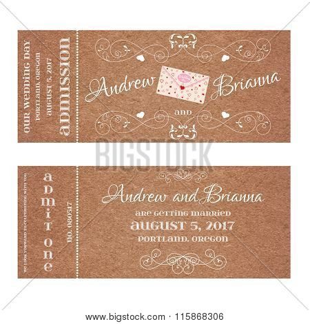 Ticket for Wedding Invitation with wedding letter