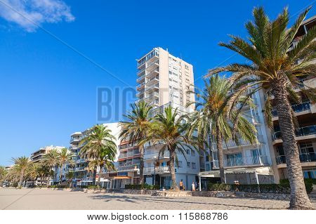 Coastal Street And Beach Of Calafell, Spain