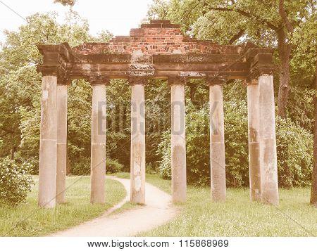 Sieben Saeulen Ruins In Dessau Germany Vintage