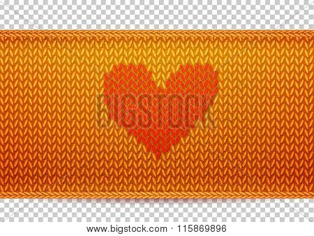 Golden knitted banner with Heart shape