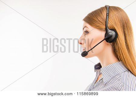 Side-face Portrait Of A Young Agent Of Call Centre