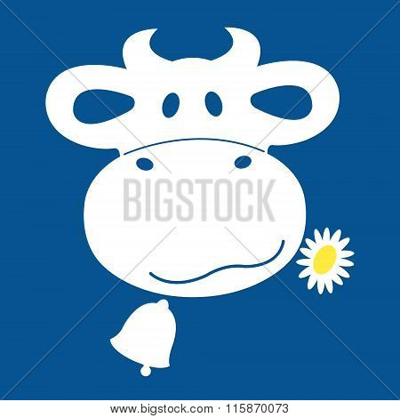 Cow shewing a daisy icon in a blue and white.