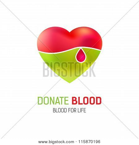 Heart and drop of blood logo