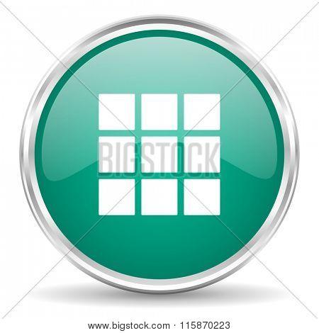 thumbnails grid blue glossy circle web icon