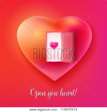 Vector heart with open door and small love