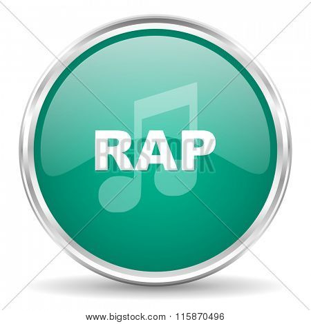 rap music blue glossy circle web icon