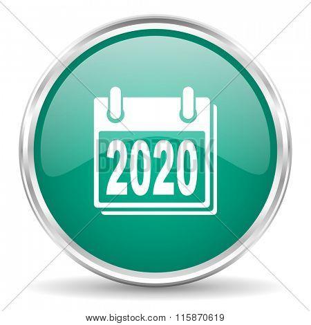 new year 2020 blue glossy circle web icon